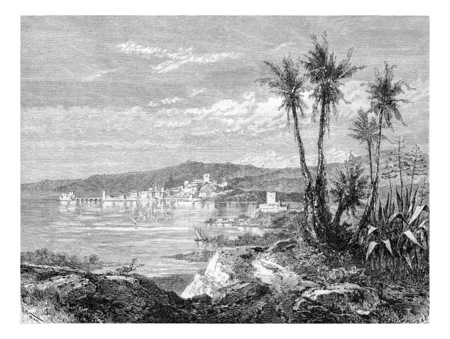 weber: City of Sidon in Lebanon, view from the south of Syria, along the Mediterranean coast, vintage engraved illustration. Le Tour du Monde, Travel Journal, 1881