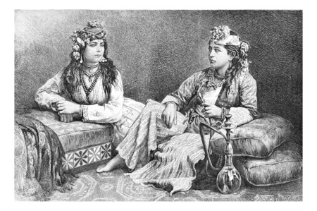 women smoking: Metouali Women of Sidon, Lebanon, with hookah, vintage engraved illustration. Le Tour du Monde, Travel Journal, 1881