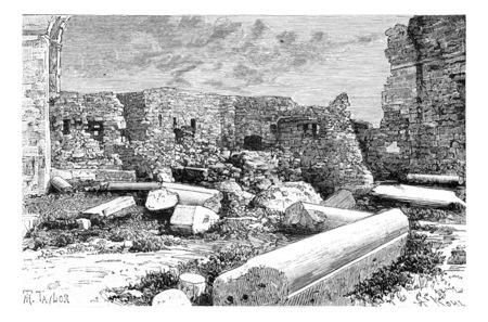 crusader: Pink Syenite Columns of the Crusader Cathedral Ruins in Tyre, Lebanon, vintage engraved illustration. Le Tour du Monde, Travel Journal, 1881