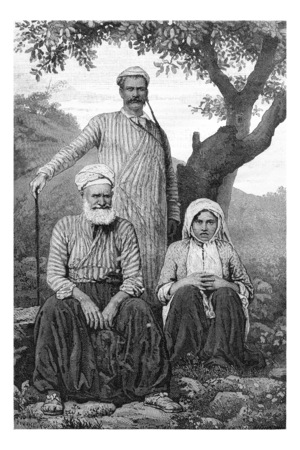 lebanon: Maronite Dragoman and Metouali or Shia Man and Woman of the Beqaa Valley, in Lebanon, vintage engraved illustration. Le Tour du Monde, Travel Journal, 1881