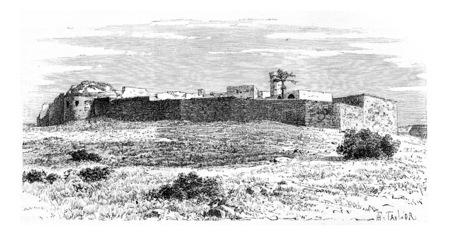 Kalat es Schema Castle, near Tyre, Lebanon, vintage engraved illustration. Le Tour du Monde, Travel Journal, 1881