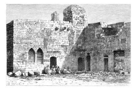Court of Kalat es Schema Castle, near Tyre, Lebanon, vintage engraved illustration. Le Tour du Monde, Travel Journal, 1881