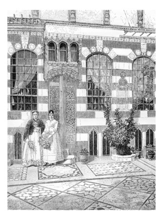 acre: Two Women in a House in Acre, Israel, vintage engraved illustration. Le Tour du Monde, Travel Journal, 1881