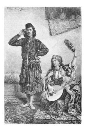 bailarinas arabes: Mesopot�mica Bailar�n y m�sicos de Acre, Israel, cosecha ilustraci�n grabada. Le Tour du Monde, Diario de viaje, 1881