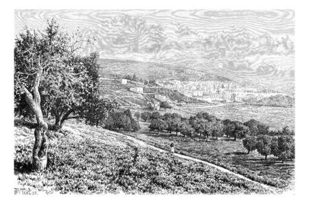 nazareth: City of Nazareth in Israel, vintage engraved illustration. Le Tour du Monde, Travel Journal, 1881