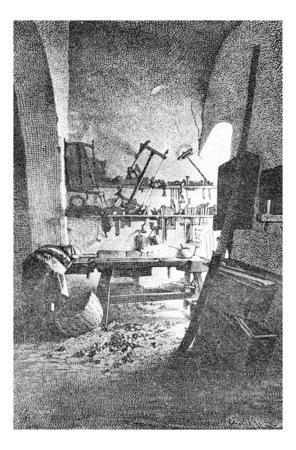 nazareth: Carpenters Workshop in Nazareth in Israel, vintage engraved illustration. Le Tour du Monde, Travel Journal, 1881 Stock Photo