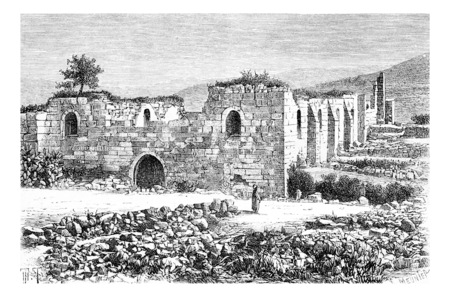 spot: Cathedral of Saint John the Baptist in Samaria, Israel, vintage engraved illustration. Le Tour du Monde, Travel Journal, 1881