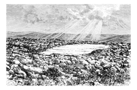 tourist spot: Site of the Temple on Mount Gerizim in Israel, vintage engraved illustration. Le Tour du Monde, Travel Journal, 1881