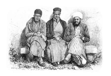 samaritans: Samaritans of Nablus in West Bank, Israel, vintage engraved illustration. Le Tour du Monde, Travel Journal, 1881
