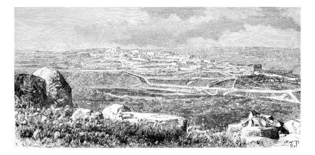 イスラエル、ヨルダン川西岸の町の Beitin ヴィンテージには、図が刻まれています。ル ツアー デュ モンド、トラベル ジャーナル 1881 写真素材