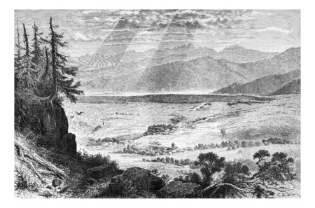 zakopane: The Village of Zakopane and Mount Gubalowka in Tatra, Poland, vintage engraving
