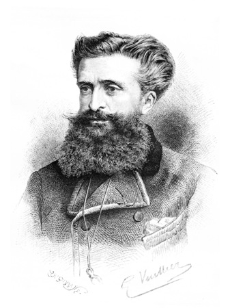 dr: Dr. Gustave le Bon, drawing by G. Vuillier, from a photograph by Dr. Gustave le Bon himself, vintage engraved illustration. Le Tour du Monde, Travel Journal, 1881