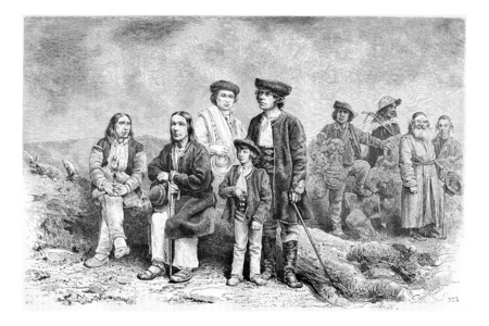 tatras: Diverse Population of Podhales of the Tatra Mountains and parts of the Beskids in Poland and Slovakia, drawing by G. Vuillier from a photograph, vintage engraved illustration. Le Tour du Monde, Travel Journal, 1881