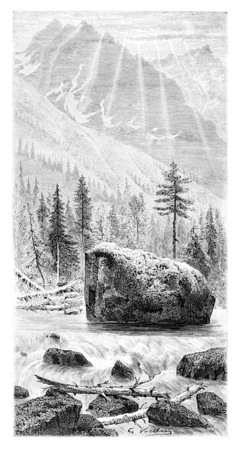 tatras: Torrent and Whitewater of the Narew River in Mlynarze, Poland, drawing by G. Vuillier from a photograph, vintage engraved illustration. Le Tour du Monde, Travel Journal, 1881 Stock Photo