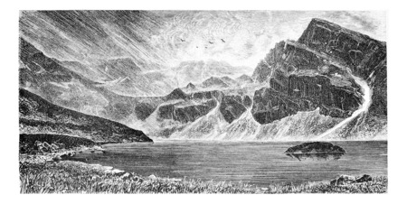 tatras: Gasienica Black Lake in Koscielec Valley in the Tatra Mountains, Poland, drawing by G. Vuillier from a photograph, vintage engraved illustration. Le Tour du Monde, Travel Journal, 1881