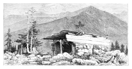 tatras: Shepherds Hut in the Tatra Mountains, Poland, drawing by G. Vuillier from a photograph, vintage engraved illustration. Le Tour du Monde, Travel Journal, 1881