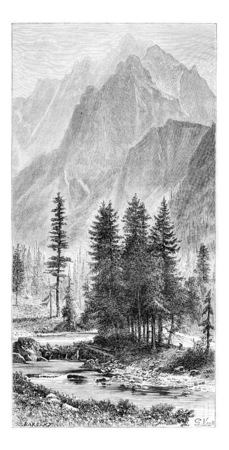 tatras: Wysoka Valley and Ganek Peak of the Pieniny Mountains, Poland, drawing by G. Vuillier from a photograph, vintage engraved illustration. Le Tour du Monde, Travel Journal, 1881