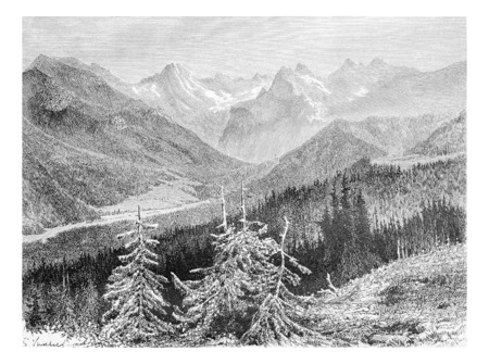 tatras: View of the Trzy Korony Massif and the Valley of the White Water in Pieniny Mountains, Poland, drawing by G. Vuillier, from a photograph by Dr. Gustave le Bon, vintage engraved illustration. Le Tour du Monde, Travel Journal, 1881