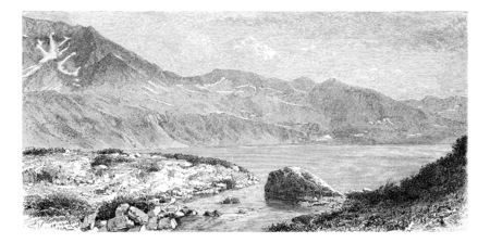 tatras: Lake Wielki Staw in the Valley of the Five Lakes, in Krkonose Mountains, Poland, drawing by G. Vuillier from a photograph, vintage engraved illustration. Le Tour du Monde, Travel Journal, 1881