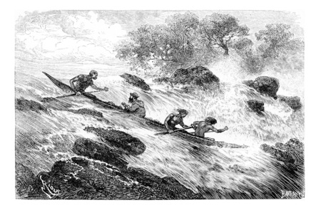 Navigating the Rapids in Oiapoque, Brazil, drawing by Riou from a sketch by Dr. Crevaux, vintage engraved illustration. Le Tour du Monde, Travel Journal, 1880 Banco de Imagens