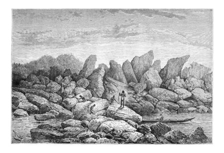 boulder: Taouaracapa, a Natural Dam in Oiapoque, Brazil, drawing by Riou from a sketch by Dr. Crevaux, vintage engraved illustration. Le Tour du Monde, Travel Journal, 1880