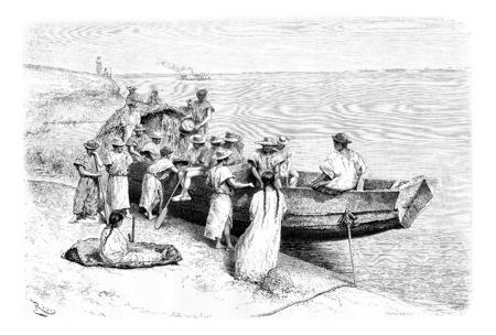 Caoutchouc chercheurs Départ en bateau à partir d'un endroit près de Tabatinga en Amazonas, au Brésil, en tirant par Riou d'une photographie, millésime gravé illustration. Le Tour du Monde, Voyage Journal 1881