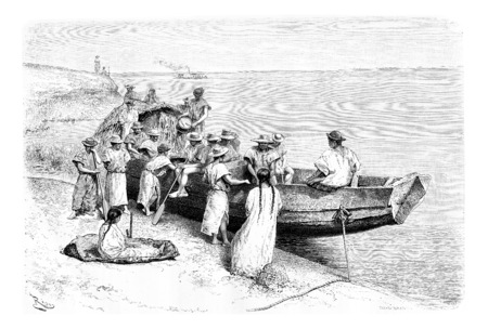 Rubber Researchers Depart by Boat from a Place Near Tabatinga in Amazonas, Brazil, drawing by Riou from a photograph, vintage engraved illustration. Le Tour du Monde, Travel Journal, 1881 Banco de Imagens