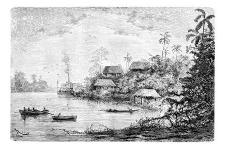 Vue de la ville de Cuembi long de la rivière Ica en Amazonie, au Brésil, en tirant par Riou d'une photographie, illustration vintage gravé. Le Tour du Monde, Voyage Journal, 1881 Banque d'images
