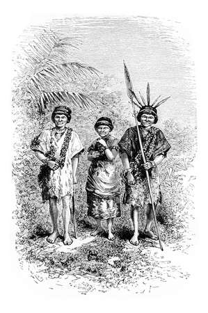 civilized: Civilized Indians of the Town of Cuembi in Amazonas, Brazil, drawing by Riou from a photograph, vintage engraved illustration. Le Tour du Monde, Travel Journal, 1881