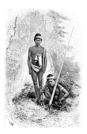 amazonas: Indians of the Town of San Miguel in Amazonas, Brazil, serving as escorts of Santa Cruz, drawing by Riou from a photograph, vintage engraved illustration. Le Tour du Monde, Travel Journal, 1881