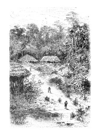 Village de Guinéo en Amazonas, au Brésil, en tirant par Riou d'une photographie, illustration vintage gravé. Le Tour du Monde, Voyage Journal 1881 Banque d'images