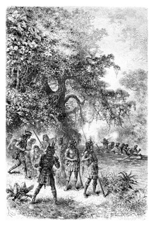 amazonas: Arrival by Boat at the Village of Coreguaje in Amazonas, Brazil, drawing by Riou from a photograph, vintage engraved illustration. Le Tour du Monde, Travel Journal, 1881 Stock Photo