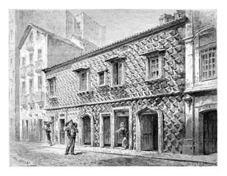 Huis van de Spikes of Casa dos Bicos in Lissabon, Portugal, tekening door Barclay gebaseerd op een foto, vintage gegraveerde illustratie. Le Tour du Monde, Travel Journal, 1881