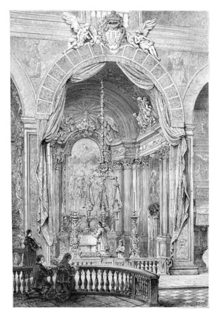 Kerk van Saint Roch of Igreja de São Roque in Lissabon, Portugal, tekening door Barclay gebaseerd op een foto, vintage gegraveerde illustratie. Le Tour du Monde, Travel Journal, 1881 Stockfoto