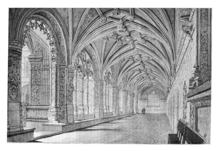 place of worship: Cloister of the Santa Maria de Belem Monastery in Lisbon, Portugal, drawing by Therond based on a photograph, vintage engraved illustration. Le Tour du Monde, Travel Journal, 1881