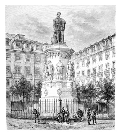 a poet: Monument of Luis Vaz de Camoes in Lisbon, Portugal, drawing by Barclay based on a photograph, vintage engraved illustration. Le Tour du Monde, Travel Journal, 1881 Stock Photo
