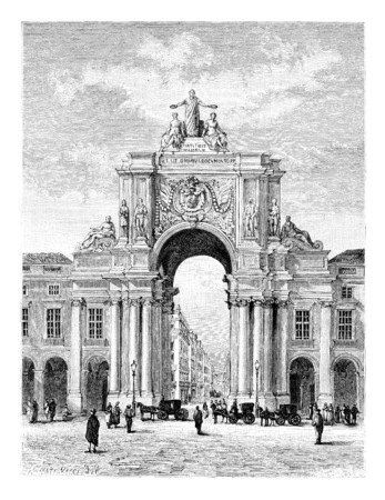 triumphal: Rua Augusta Triumphal Arch on Commerce Square in Lisbon, Portugal, drawing by Catenacci based on a photograph, vintage engraved illustration. Le Tour du Monde, Travel Journal, 1881 Stock Photo