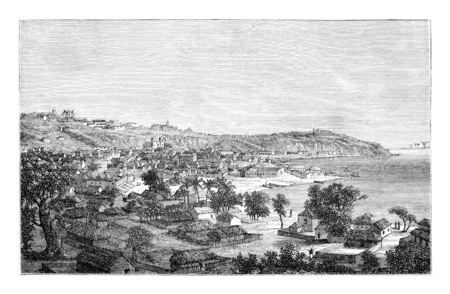 Luanda, en Angola, en Afrique, dessin de Monteiro, illustration vintage gravé. Le Tour du Monde, Voyage Journal 1881