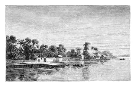 Porto da Lenha en Angola, en Afrique, dessin de Monteiro, illustration vintage gravé. Le Tour du Monde, Voyage Journal 1881 Banque d'images