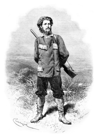 Major Alexandre de Serpa Pinto, dessin de Bayard basée sur une photo, illustration vintage gravé. Le Tour du Monde, Voyage Journal, 1881 Éditoriale