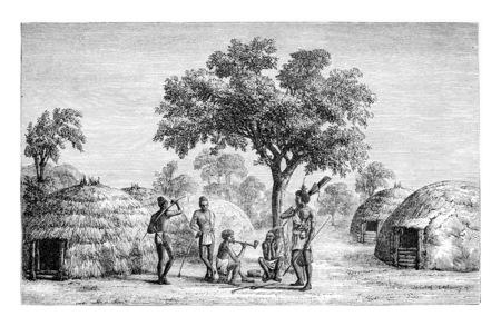 Tribus de Mandombe au Congo, en Afrique centrale, dessin de Monteiro, illustration vintage gravé. Le Tour du Monde, Voyage Journal, 1881
