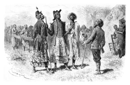 Trois Princes de Dombe de l'Mandombe tribu au Congo, en Afrique centrale, dessin par Bayard basée sur une esquisse de Serpa Pinto, illustration vintage gravé. Le Tour du Monde, Voyage Journal 1881 Banque d'images
