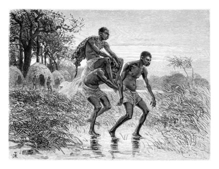 african tribe: Departure of King Chimbarandongo, drawing by Bayard based on a sketch by Serpa Pinto in Angola, Southern Africa, vintage engraved illustration. Le Tour du Monde, Travel Journal, 1881