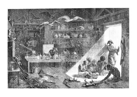 L'intérieur de la Résidence Anchieta en Angola, en Afrique australe, dessin de Bayard basée sur une esquisse de Serpa Pinto, illustration vintage gravé. Le Tour du Monde, Voyage Journal, 1881