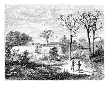 Caconda en Angola, en Afrique australe, dessin de De Bar basée sur une esquisse de Serpa Pinto, illustration vintage gravé. Le Tour du Monde, Voyage Journal 1881 Banque d'images