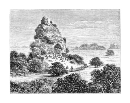 southern africa: Cingolo, an Ovimbundu Kingdom in Angola, Southern Africa, drawing by De Bar based on a sketch by Serpa Pinto, vintage engraved illustration. Le Tour du Monde, Travel Journal, 1881 Stock Photo