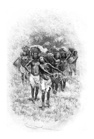 Troupe de filles portant des paniers en Angola, en Afrique australe, dessin par Bayard basée sur une esquisse de Serpa Pinto, illustration vintage gravé. Le Tour du Monde, Voyage Journal 1881