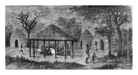 angola: At the Tribal Meeting Place in Angola, Southern Africa, drawing by De Bar based on a sketch by Serpa Pinto, vintage engraved illustration. Le Tour du Monde, Travel Journal, 1881
