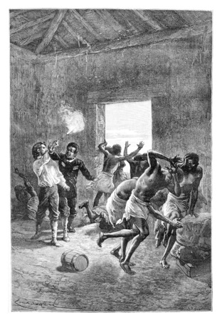 colony: Major Serpa Pinto Fires a Gun at the Head of Duombo in Angola, Southern Africa, drawing by Bayard based on a sketch by Serpa Pinto, vintage engraved illustration. Le Tour du Monde, Travel Journal, 1881