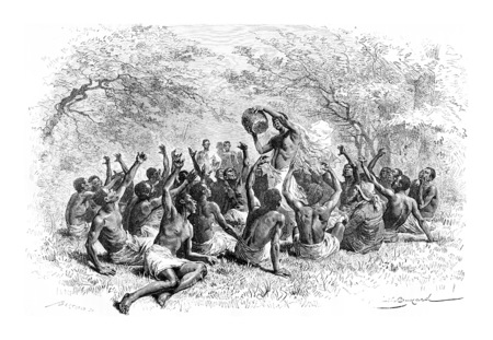 Le major et le Devin, en Angola, en Afrique australe, dessin de Bayard basées sur une esquisse de Serpa Pinto, illustration vintage gravé. Le Tour du Monde, Voyage Journal 1881 Banque d'images